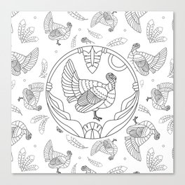 Pattern with turkey and feathers Canvas Print