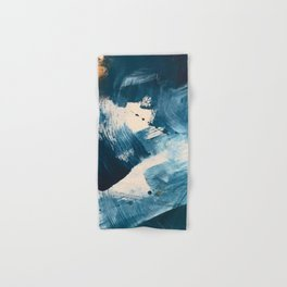 Against the Current: A bold, minimal abstract acrylic piece in blue, white and gold Hand & Bath Towel