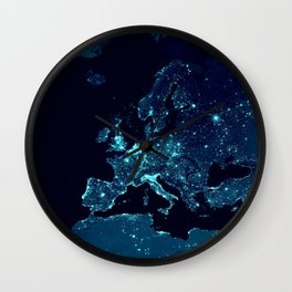 Earth's Night Lights : Teal Wall Clock