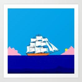 A Clipper Ship at Sunset, Pink clouds and Sun, Nautical Scene Art Print