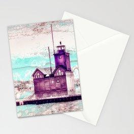 """Holland Harbor Lighthouse"" - Michigan Fluid Art Lighthouse Series Stationery Cards"