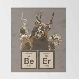 Funny chemistry bear discovered beer Throw Blanket