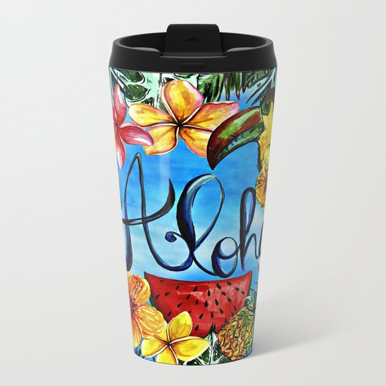 Aloha - Tropical Flower Food and Animal Summer Design on #Society6 Metal Travel Mug