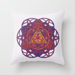 All Seeing I Sacred Geometry Mandala  Throw Pillow