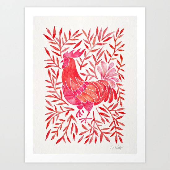 Le Coq – Watercolor Rooster with Red Leaves Art Print