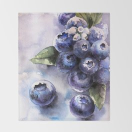 Watercolor Blueberries - Food Art Throw Blanket