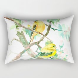 American Goldfinch and Apple Blossom Rectangular Pillow