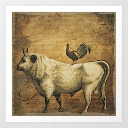 Rooster and the Cow Art Print