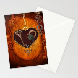Steampunk, heart with gears Stationery Cards