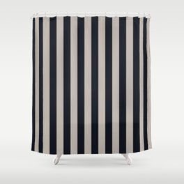 Vertical Stripes Black & Warm Gray Shower Curtain