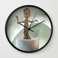 groot Wall Clocks featuring Baby Groot by Cassandra Moonen