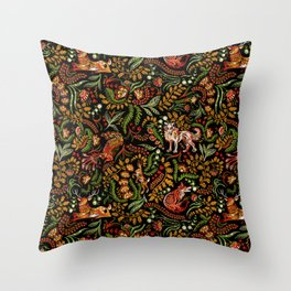 Khokhloma Russian Forest Animals Throw Pillow