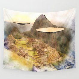 UFO over Machu Picchu Wall Tapestry
