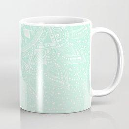 Elegant white and mint mandala confetti design Coffee Mug