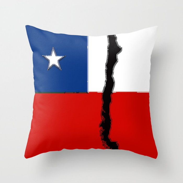 Chilean Flag with Map of Chile Throw Pillow