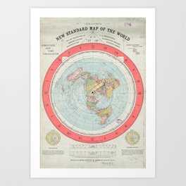 Flat Earth Society Wall Map Art Print