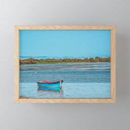 Wooden boat in the Natural Park of Camargue Framed Mini Art Print