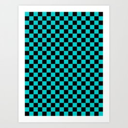 Black and Cyan Checkerboard Art Print