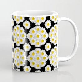 Daisies on black pattern Coffee Mug