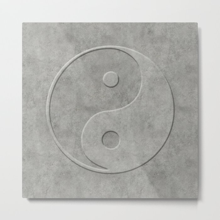 Yin and Yang Symbol embossed  concrete stone Metal Print