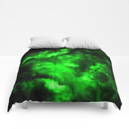 Envy - Abstract In Black And Neon Green Comforters