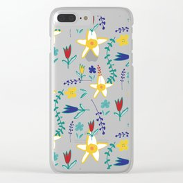 Floral The Tortoise and the Hare is one of Aesop Fables beige Clear iPhone Case