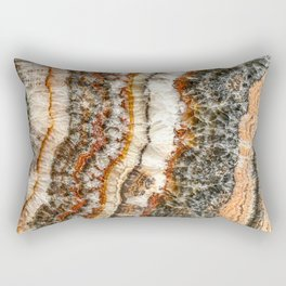 Agate Crystal II // Red Gray Black Yellow Orange Marbled Diamond Luxury Gemstone Rectangular Pillow