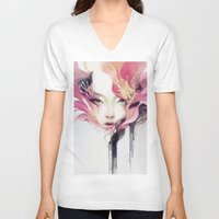 anna V-neck T-shirts featuring Bauhinia by Anna Dittmann