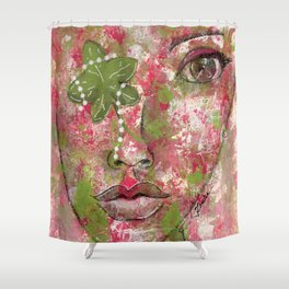 Come Thru Pink and Green Shower Curtain