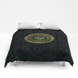 Marble and Abalone Endless Knot  in Mandala Decorative Shape Comforters
