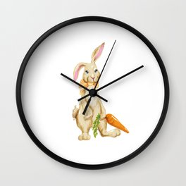 Children's Easter Shirt With Cute Easter Bunnies Wall Clock