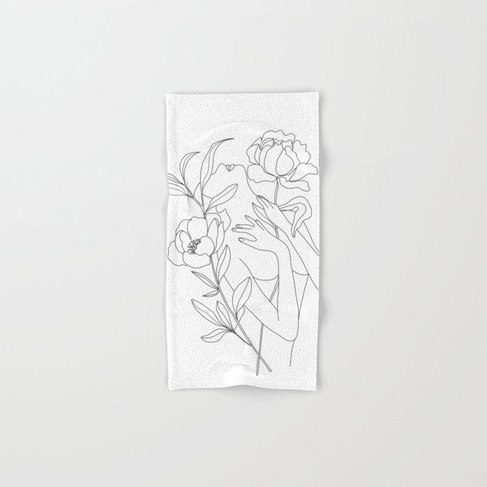 Minimal Line Art Woman with Peonies Hand & Bath Towel