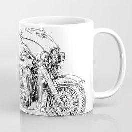 Motorcycle art, black and white portrait Coffee Mug