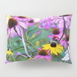 Yellow Flowers in the Purple Coneflower Garden Pillow Sham