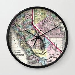 1872 Map of California and San Francisco Wall Clock