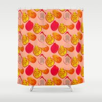 pomegranate Shower Curtains featuring Pomegranate by Louise Elizabeth