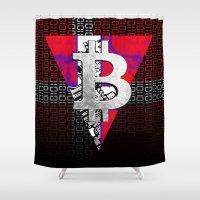 denmark Shower Curtains featuring bitcoin denmark by seb mcnulty