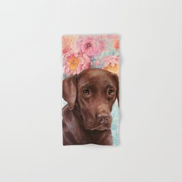 Flowers and Chocolate (chocolate lab dog watercolor portrait painting) Hand & Bath Towel