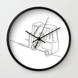 Forklift Truck Continuous Line Wall Clock