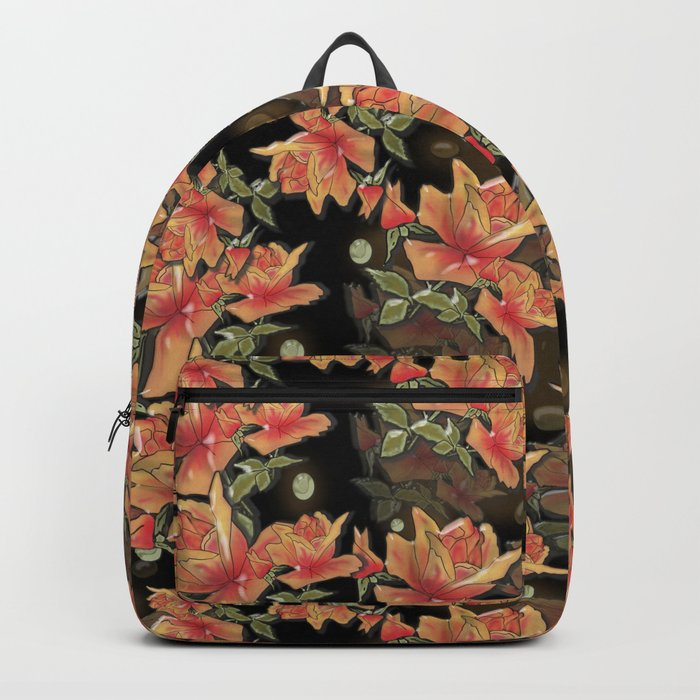 Yellow roses . Imitation glass .3D/ Backpack