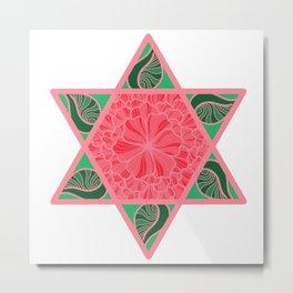 Floral Star of David Metal Print