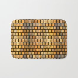 Wooden Distressed Block Tile Pattern Bath Mat