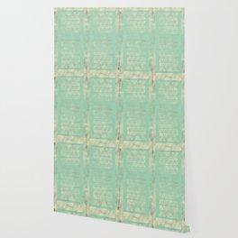 Antiqued Teal Panel Geometric Wallpaper