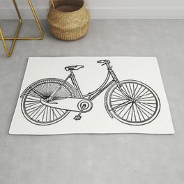 Vintage American Bicycle Diagram Rug