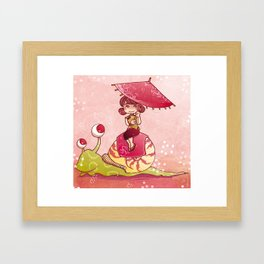 On the snail Framed Art Print