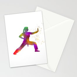 Woman practices karate in watercolor 02 Stationery Cards