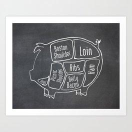 Pork Butcher Diagram (Pig Meat Chart) Art Print