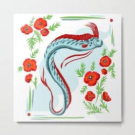 Ocean Oarfish with Poppy Flowers Metal Print