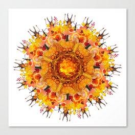calavera orange mandala Canvas Print