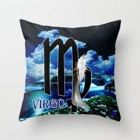 virgo Throw Pillows featuring Virgo by LBH Dezines